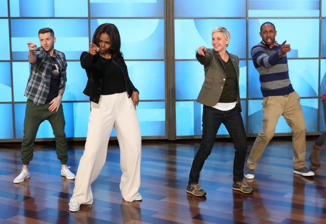 Michelle Obama and Ellen Degeneres on #GimmeFive Challenge
