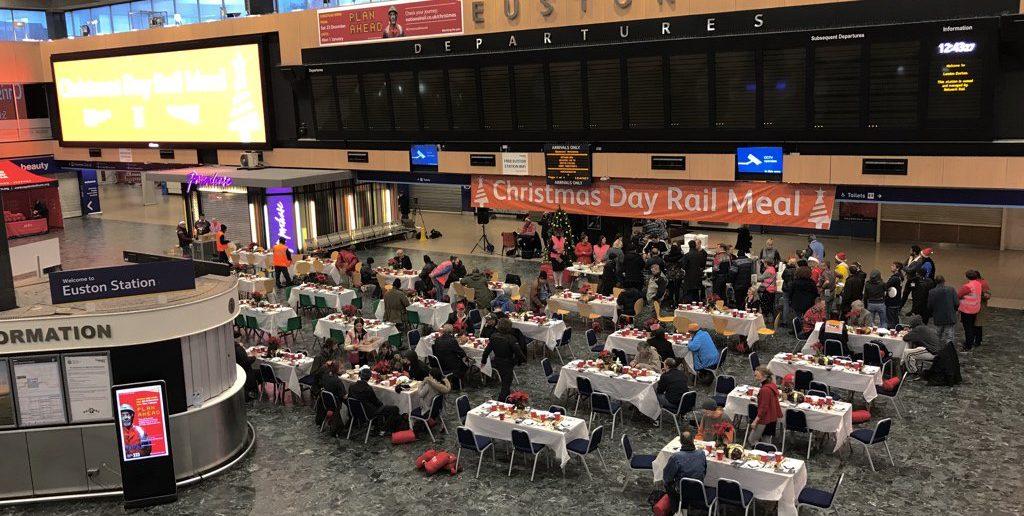 200 homeless people enjoy Christmas Dinner at London Euston Station
