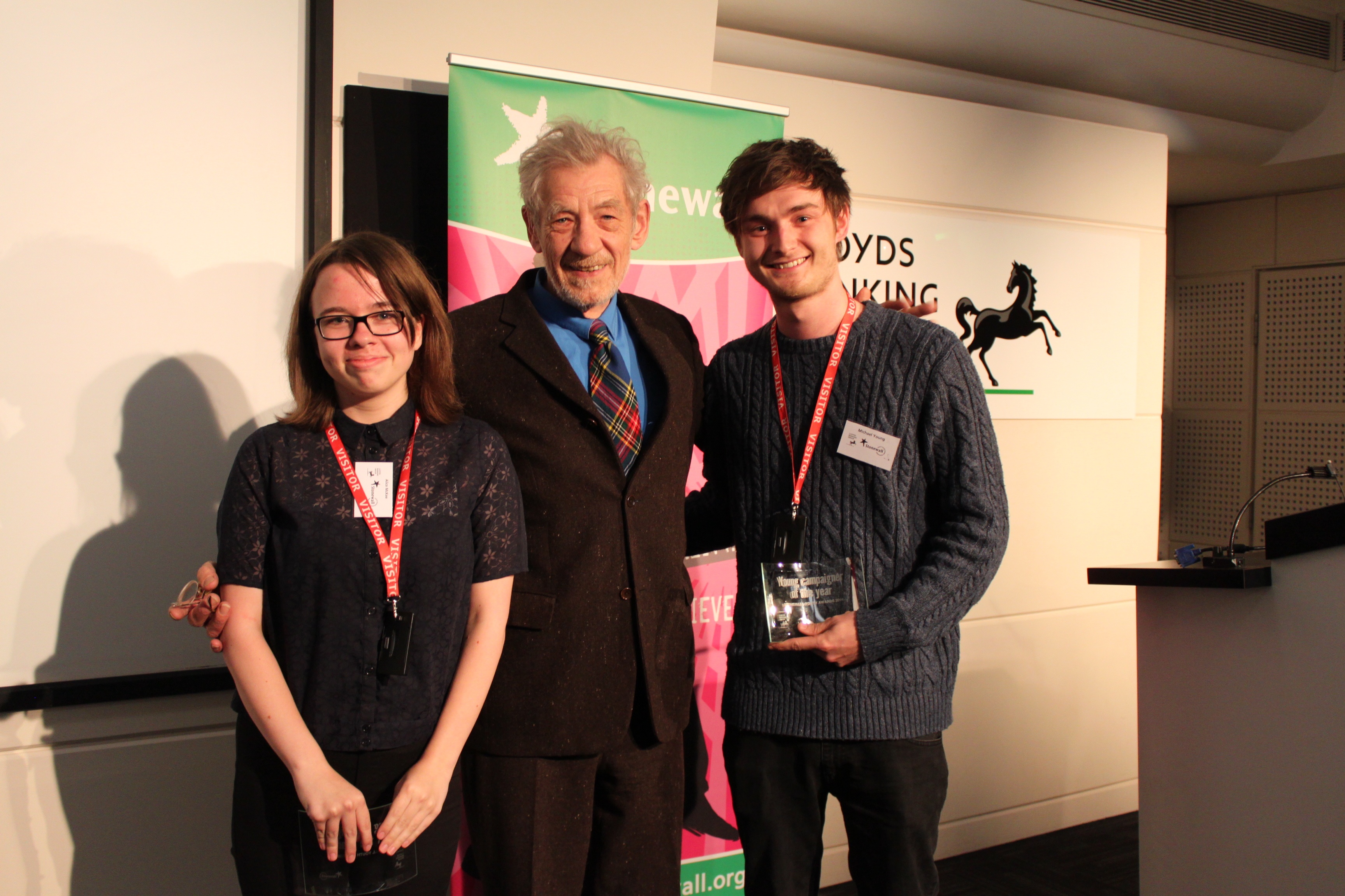 Stonewall Campaigner of the Year 2014 with Sir Ian McKellen