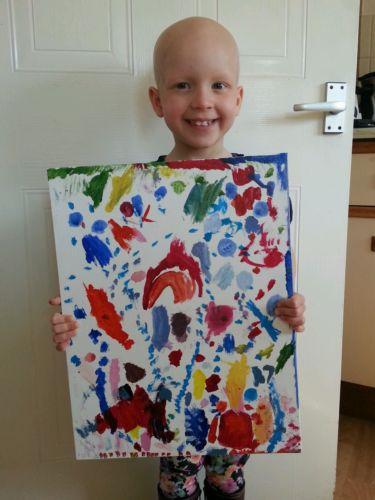 'Volcano' painting by 4 year old Sydney Caraher Alopecia UK Charity Auction