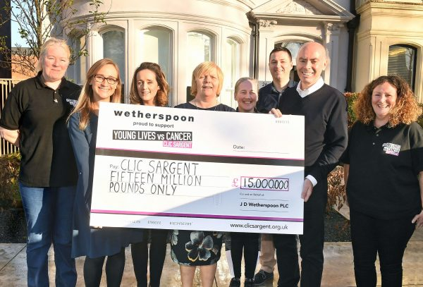 Chance Encounter on Train Leads to £15 Million Fundraising Milestone for J D Wetherspoon and CLIC Sargent