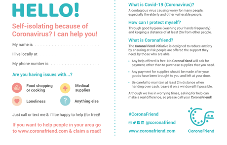 #ViralKindness postcard paves the way for CoronaFriend project to support self-isolating neighbours